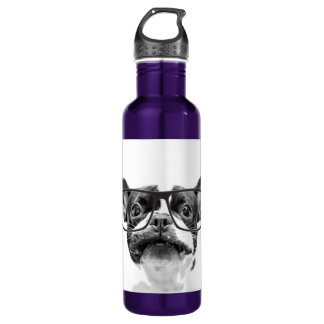 Reputable French Bulldog with Glasses 710 Ml Water Bottle