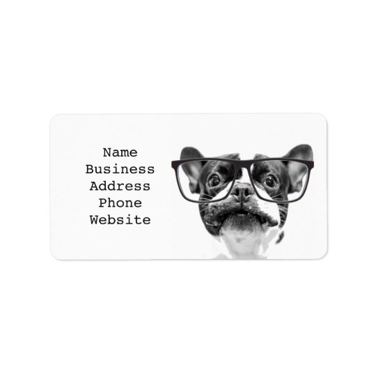 Reputable French Bulldog with Glasses Address Label