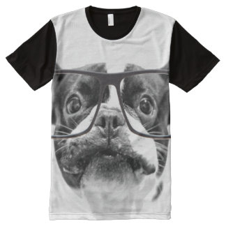 Reputable French Bulldog with Glasses All-Over Print T-Shirt