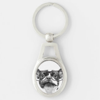 Reputable French Bulldog with Glasses Key Ring