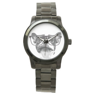 Reputable French Bulldog with Glasses Wristwatches