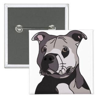 Rescue American Bulldog Pit Bull Terrier Portrait 15 Cm Square Badge