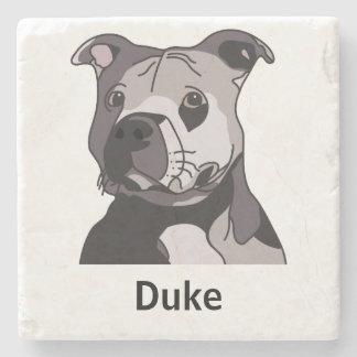 Rescue American Bulldog Pit Bull Terrier Portrait Stone Beverage Coaster