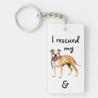 Rescue American Pit Bull Terrier Double-Sided Rectangular Acrylic Key Ring