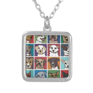 Rescue Dog Cartoon Square Pendant Necklace