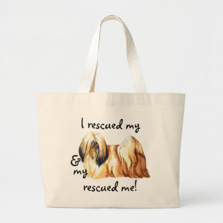 Rescue Lhasa Apso Large Tote Bag