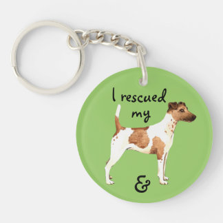 Rescue Smooth Fox Terrier Double-Sided Round Acrylic Key Ring