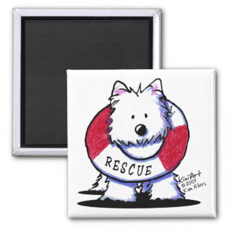 Rescue Westie Square White Magnets