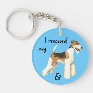 Rescue Wire Fox Terrier Double-Sided Round Acrylic Key Ring