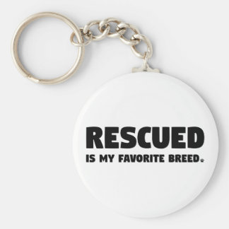 Rescued is my Favorite Breed Basic Round Button Key Ring