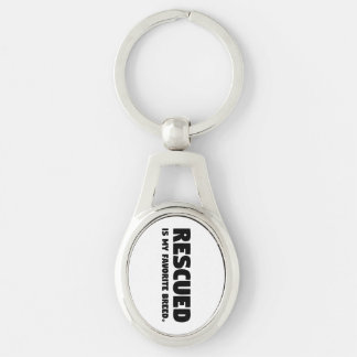 Rescued is my Favorite Breed Silver-Colored Oval Key Ring