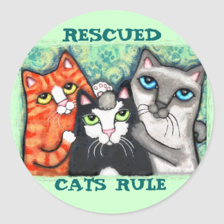 Rescued Shelter Cat s Round Stickers