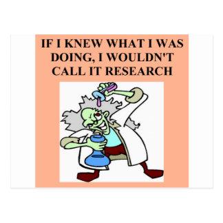 research  joke postcard