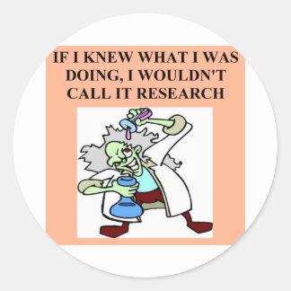 research joke round sticker