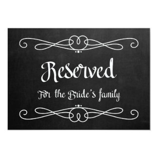 """""""Reserved for Bride's Family"""" Wedding Sign 13 Cm X 18 Cm Invitation Card"""