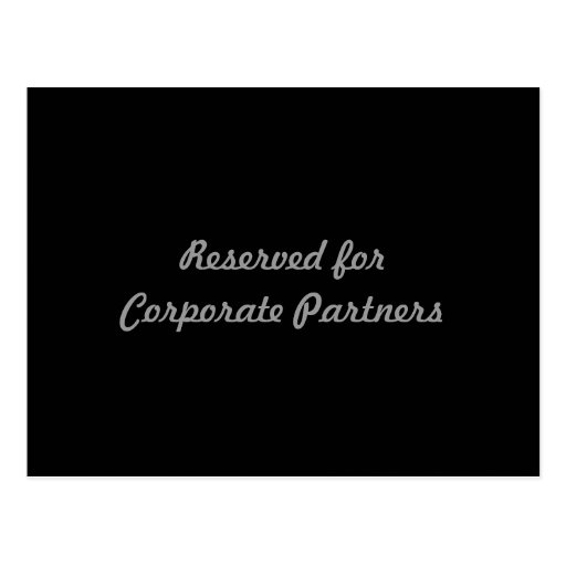 Reserved for Corporate Partners Postcard