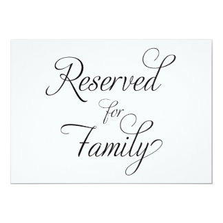 Reserved for Family - Wedding Sign Card
