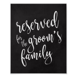 Reserved for Groom's Family 8x10 Chalkoard Sign Poster