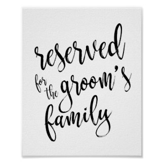 Reserved for Groom's Family 8x10 Wedding Sign Poster