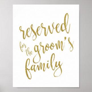 Reserved for Groom's Family Glitter 8x10 Sign Poster