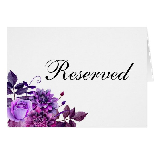 Reserved sign. Purple wedding. Floral table sign Card