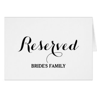 Reserved table or seating sign card for place