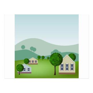 Residential Neighborhood Homes Cartoon Postcard
