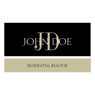 Residential Realtor Monogram Black/Tan Business Card Templates