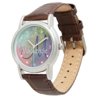 Resilient Bling | Name Watercolor Rainbow Abstract Wrist Watches