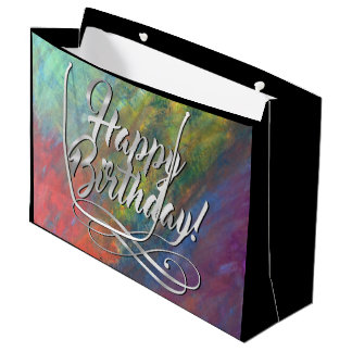 Resilient ROYGBIV Abstract Rainbow Trendy Birthday Large Gift Bag