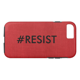 #Resist, black text on Red Linen Photo iPhone 8/7 Case
