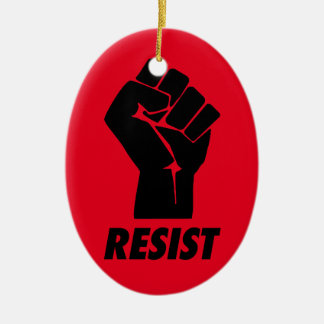 resist fist ceramic ornament