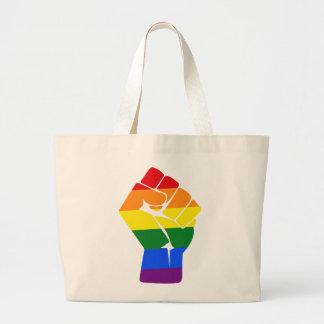 #Resist LGBT Rainbow Raised Fist Protest Large Tote Bag