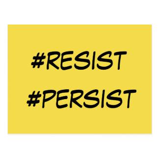 """#resist"" ""#persist"" Political Activist Messages Postcard"