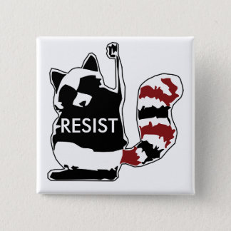 Resist Raccoon Political Button