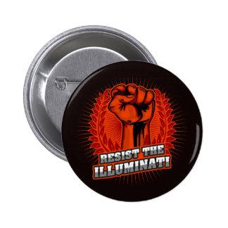 Resist The Illuminati Orange Raised Fist 6 Cm Round Badge