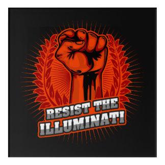 Resist The Illuminati Orange Raised Fist Acrylic Print