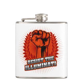 Resist The Illuminati Orange Raised Fist Hip Flask