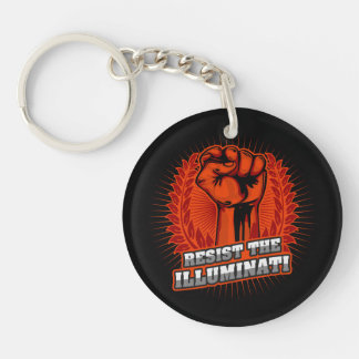 Resist The Illuminati Orange Raised Fist Key Ring