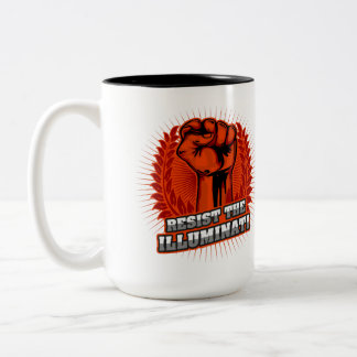 Resist The Illuminati Orange Raised Fist Two-Tone Coffee Mug