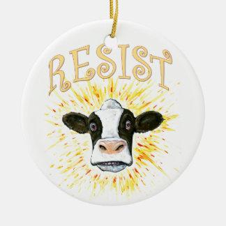 Resistance Dairy Cow Round Ceramic Decoration