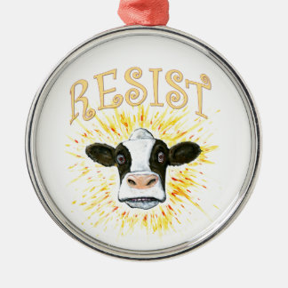 Resistance Dairy Cow Silver-Colored Round Decoration