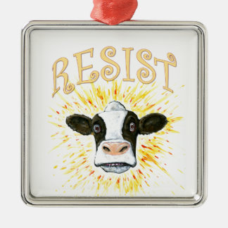 Resistance Dairy Cow Silver-Colored Square Decoration