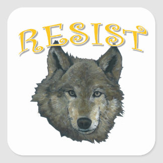Resistance Wolf Square Sticker