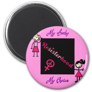 Resisterhood Stick Figures Pink Background My Body Magnet