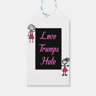 Resisterhood Stick Women Pink Love Trumps Hate Gift Tags