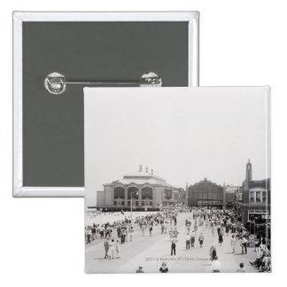 Resort tourists on esplanade 15 cm square badge
