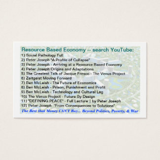 Resource Based Economy & Permaculture links Business Card