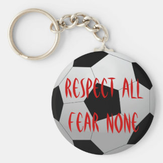 Respect All, Fear None Soccer Ball Basic Round Button Key Ring