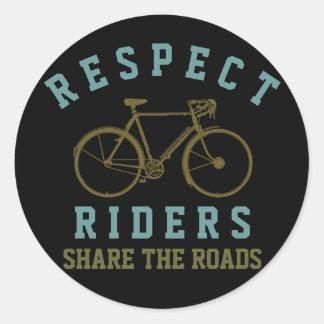 respect bikers . share roads round sticker